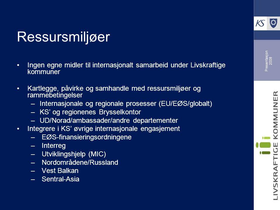 Presentasjon 2008 Ressursmiljøer Ingen egne midler til internasjonalt samarbeid under Livskraftige kommuner Kartlegge, påvirke og samhandle med ressursmiljøer og rammebetingelser –Internasjonale og regionale prosesser (EU/EØS/globalt) –KS' og regionenes Brysselkontor –UD/Norad/ambassader/andre departementer Integrere i KS' øvrige internasjonale engasjement – EØS-finansieringsordningene – Interreg – Utviklingshjelp (MIC) – Nordområdene/Russland – Vest Balkan – Sentral-Asia