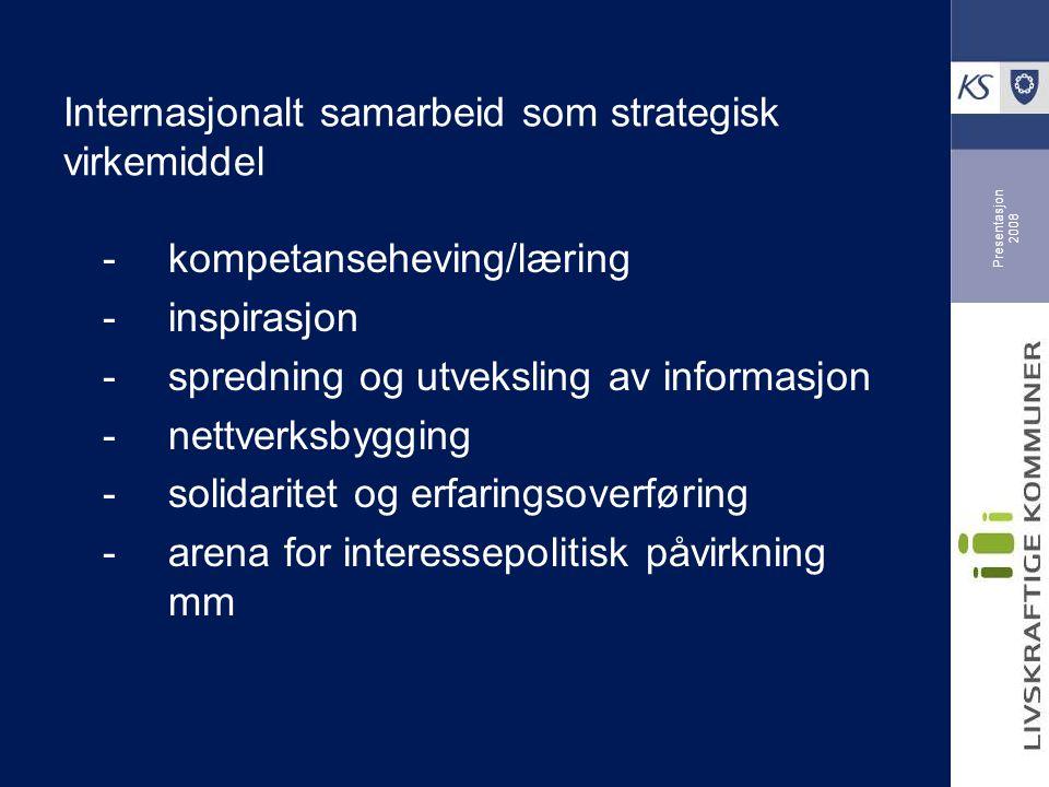 Presentasjon 2008 Internasjonalt samarbeid som strategisk virkemiddel -kompetanseheving/læring -inspirasjon -spredning og utveksling av informasjon -nettverksbygging -solidaritet og erfaringsoverføring -arena for interessepolitisk påvirkning mm