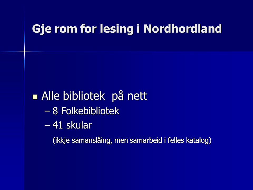 Gje rom for lesing i Nordhordland Alle bibliotek på nett Alle bibliotek på nett –8 Folkebibliotek –41 skular (ikkje samanslåing, men samarbeid i felles katalog)