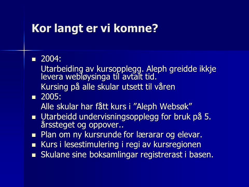 Kor langt er vi komne. 2004: 2004: Utarbeiding av kursopplegg.