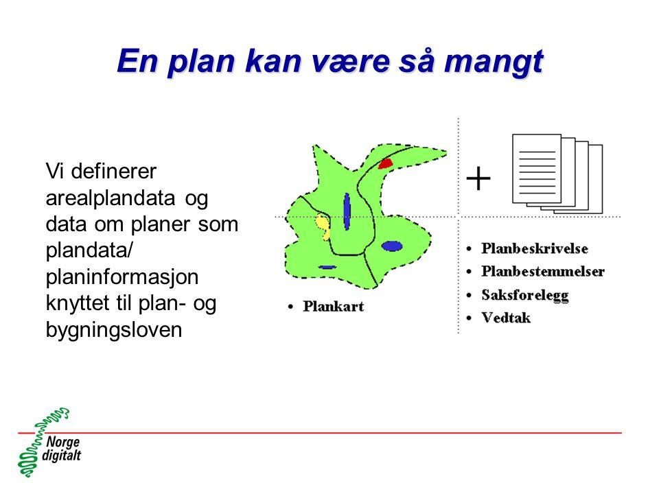 En plan kan være så mangt Vi definerer arealplandata og data om planer som plandata/ planinformasjon knyttet til plan- og bygningsloven