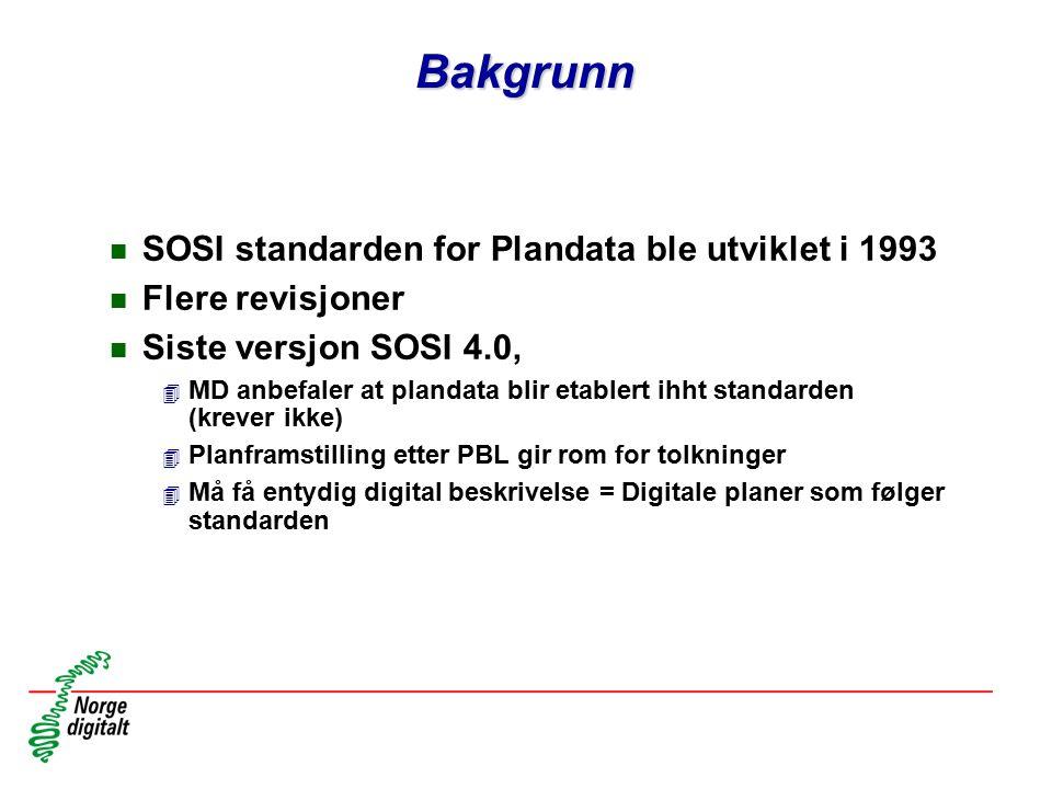 Bakgrunn n SOSI standarden for Plandata ble utviklet i 1993 n Flere revisjoner n Siste versjon SOSI 4.0, 4 MD anbefaler at plandata blir etablert ihht