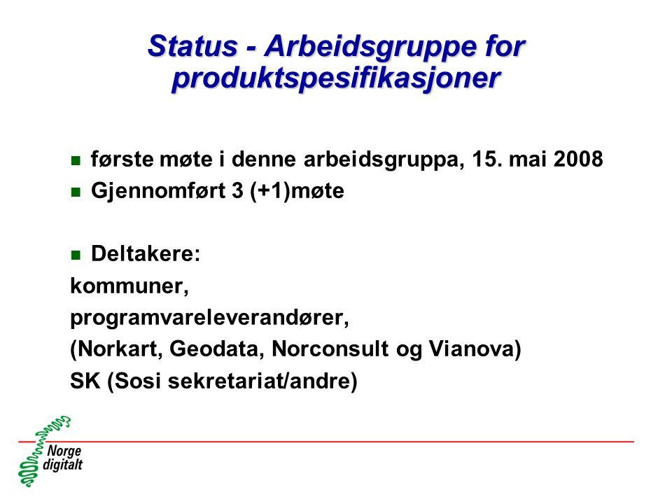Status - Arbeidsgruppe for produktspesifikasjoner n første møte i denne arbeidsgruppa, 15. mai 2008 n Gjennomført 3 (+1)møte n Deltakere: kommuner, pr