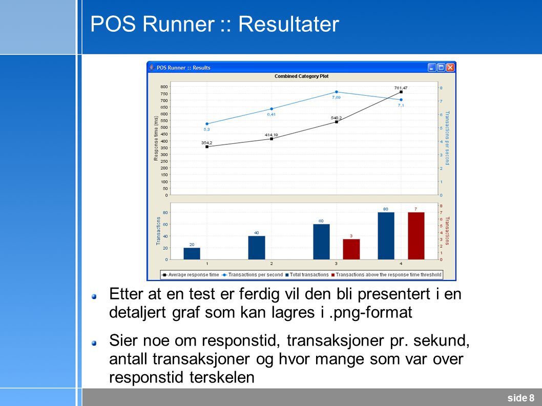 side 8 POS Runner :: Resultater Etter at en test er ferdig vil den bli presentert i en detaljert graf som kan lagres i.png-format Sier noe om responstid, transaksjoner pr.