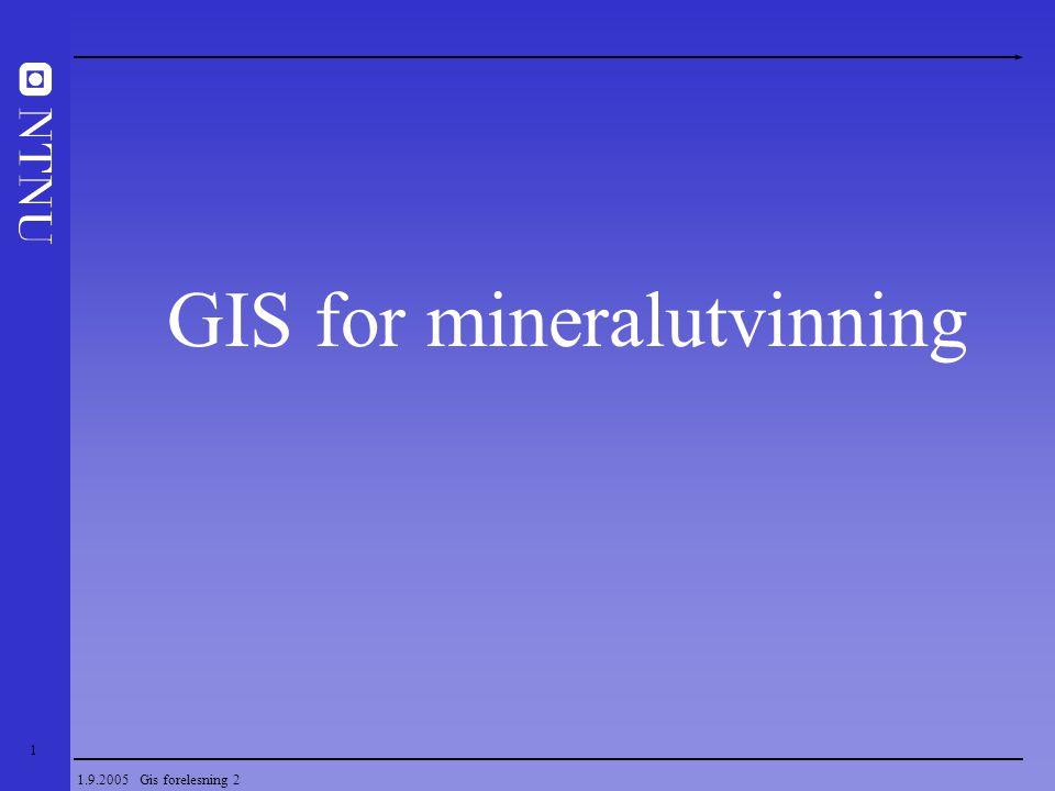 42 1.9.2005 Gis forelesning 2 Representasjon av form og posisjon for geodata Kontinuerlige felt  TIN (Triangular irregular network) - Oppdeling i irregulære tringulære polygon (arealer)  Raster data modell - Oppdeling i kvadratiske celler (pixler) eller kubiske celler (voxler) Innsamling i et GIS – forenkling av virkeligheten