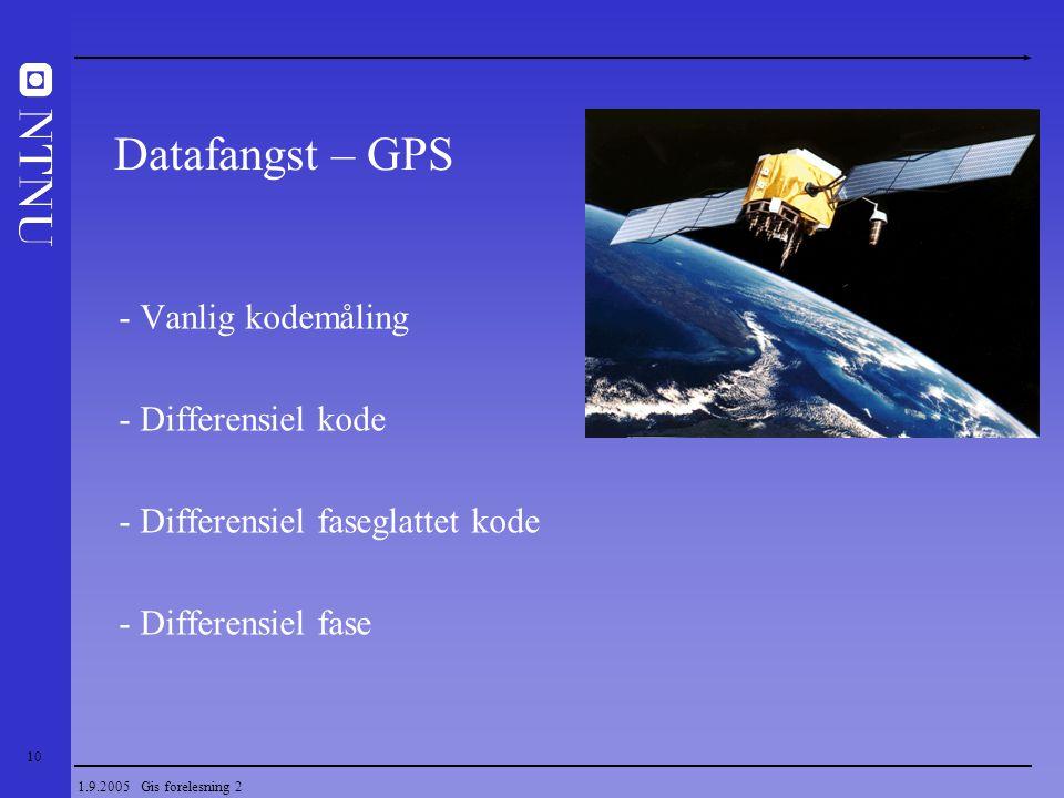 10 1.9.2005 Gis forelesning 2 - Vanlig kodemåling - Differensiel kode - Differensiel faseglattet kode - Differensiel fase Datafangst – GPS