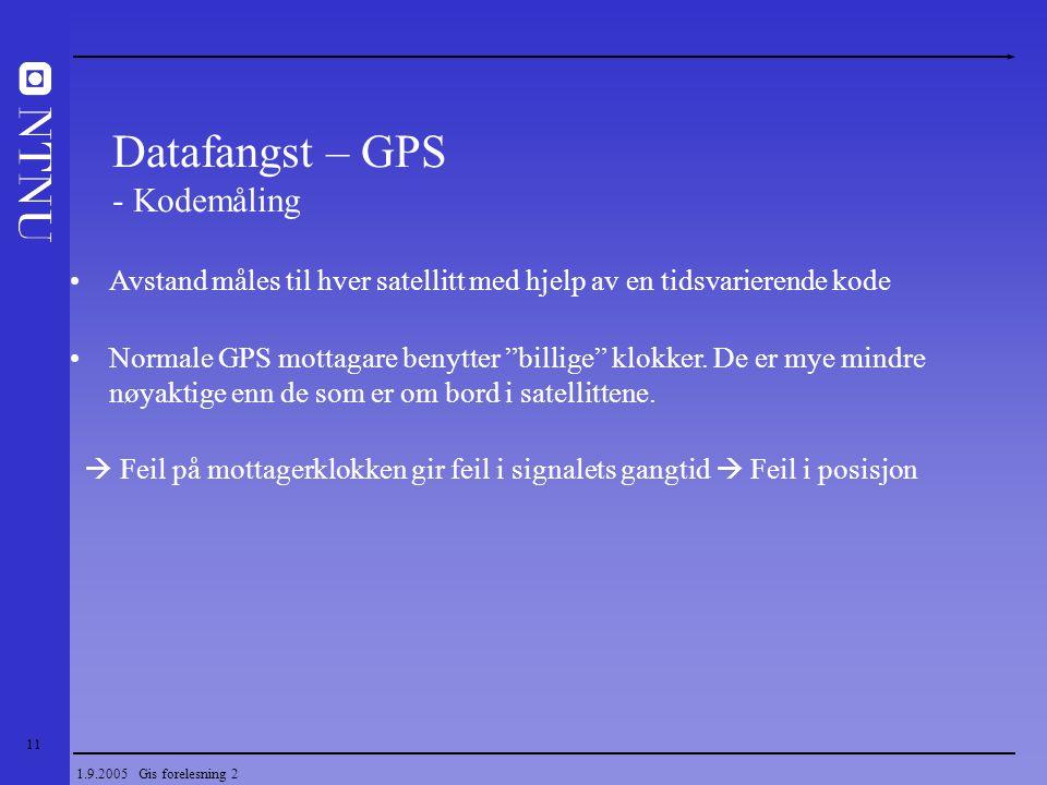 """11 1.9.2005 Gis forelesning 2 Avstand måles til hver satellitt med hjelp av en tidsvarierende kode Normale GPS mottagare benytter """"billige"""" klokker. D"""