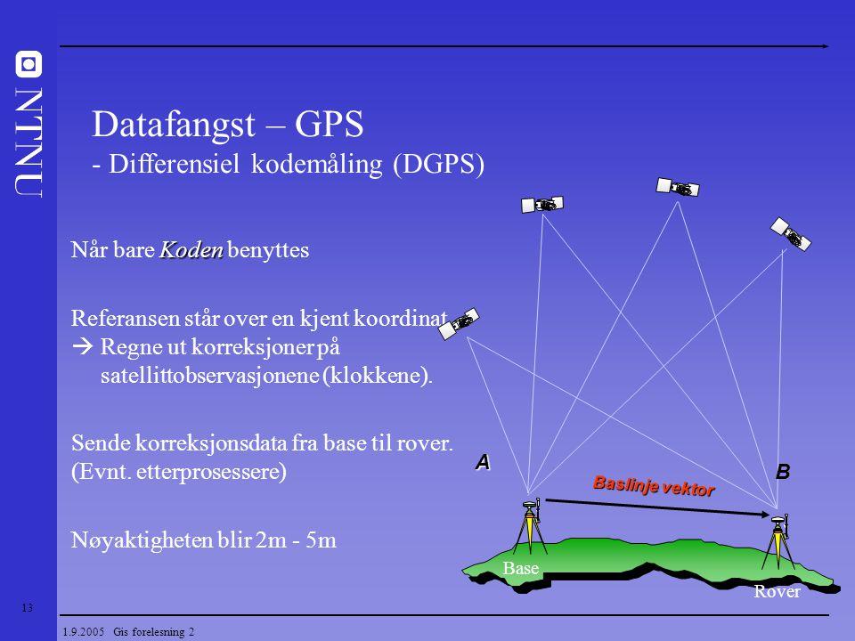13 1.9.2005 Gis forelesning 2 Koden Når bare Koden benyttes Referansen står over en kjent koordinat  Regne ut korreksjoner på satellittobservasjonene
