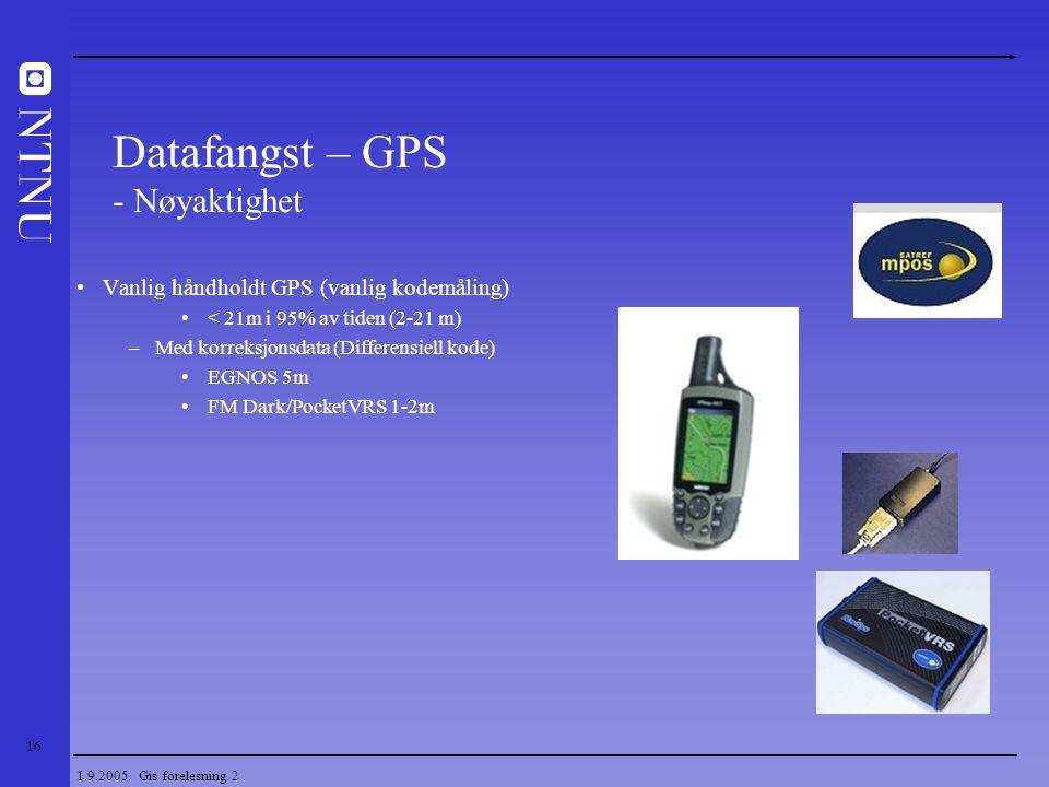 16 1.9.2005 Gis forelesning 2 Datafangst – GPS - Nøyaktighet Vanlig håndholdt GPS (vanlig kodemåling) < 21m i 95% av tiden (2-21 m) –Med korreksjonsda