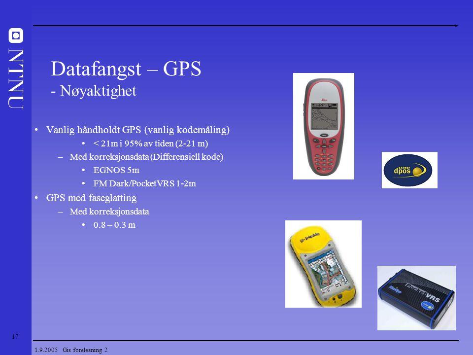 17 1.9.2005 Gis forelesning 2 Vanlig håndholdt GPS (vanlig kodemåling) < 21m i 95% av tiden (2-21 m) –Med korreksjonsdata (Differensiell kode) EGNOS 5