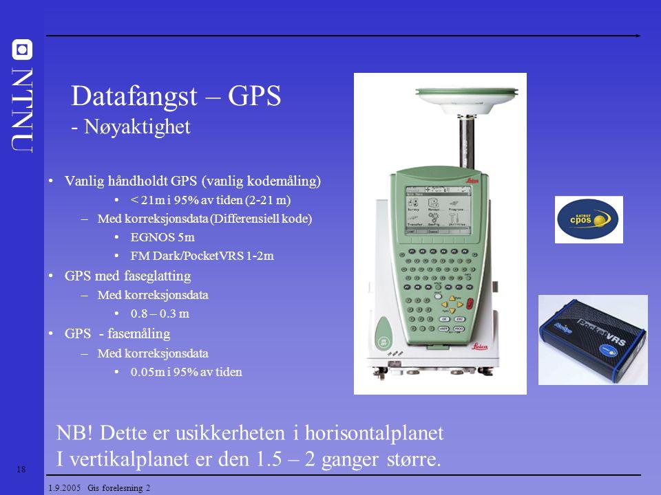18 1.9.2005 Gis forelesning 2 Vanlig håndholdt GPS (vanlig kodemåling) < 21m i 95% av tiden (2-21 m) –Med korreksjonsdata (Differensiell kode) EGNOS 5