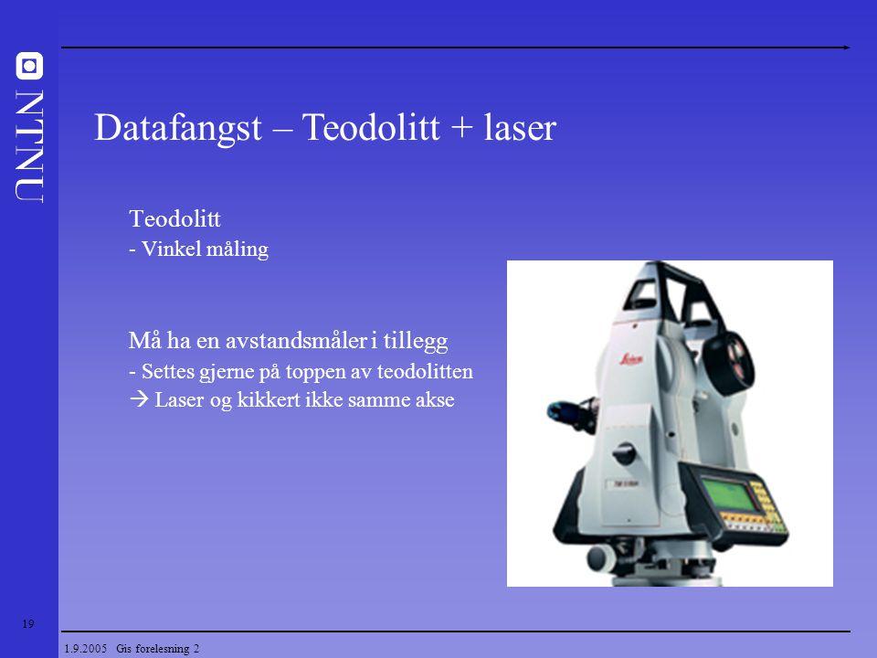 19 1.9.2005 Gis forelesning 2 Teodolitt - Vinkel måling Må ha en avstandsmåler i tillegg - Settes gjerne på toppen av teodolitten  Laser og kikkert i