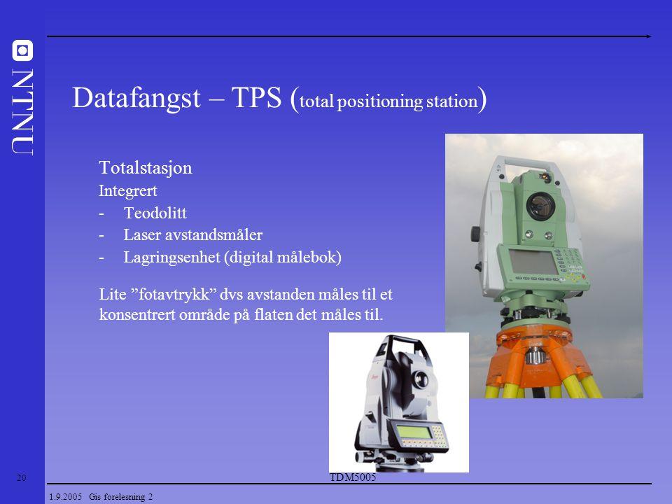 20 1.9.2005 Gis forelesning 2 Totalstasjon Integrert -Teodolitt -Laser avstandsmåler -Lagringsenhet (digital målebok) Datafangst – TPS ( total positio