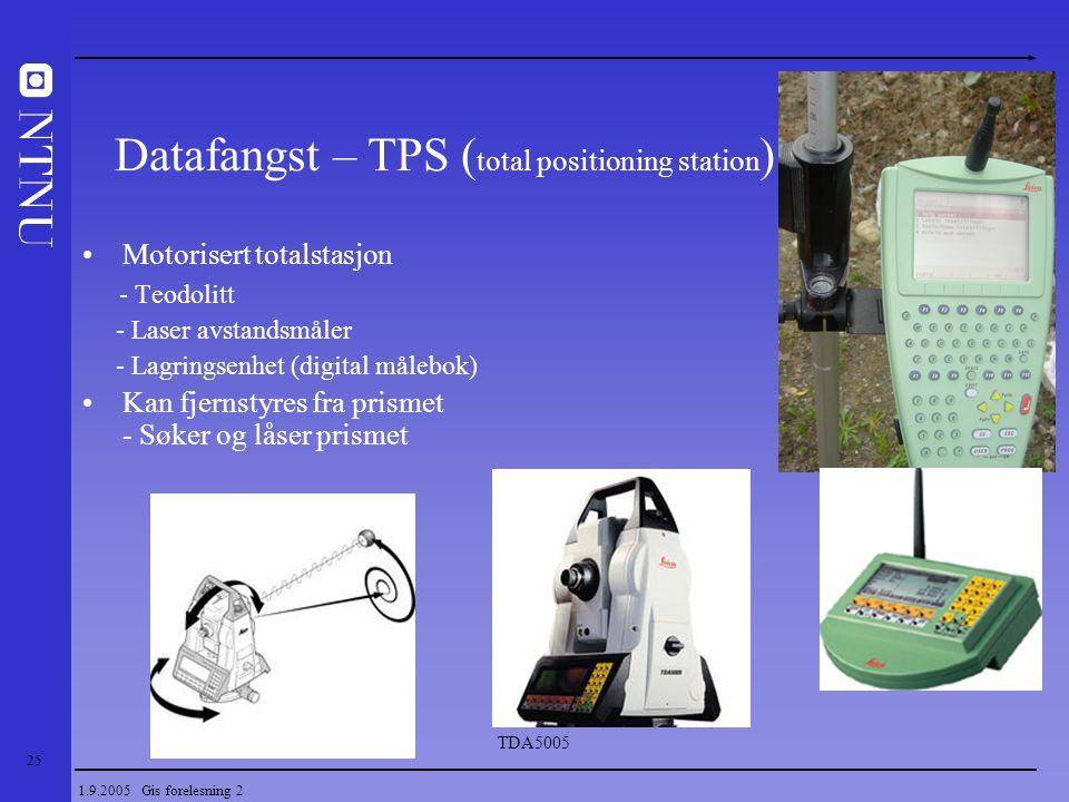 25 1.9.2005 Gis forelesning 2 Motorisert totalstasjon - Teodolitt - Laser avstandsmåler - Lagringsenhet (digital målebok) Kan fjernstyres fra prismet
