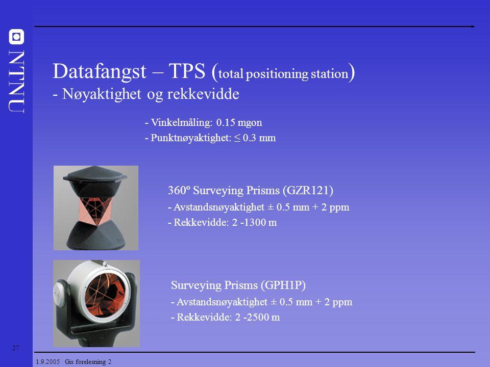 27 1.9.2005 Gis forelesning 2 Datafangst – TPS ( total positioning station ) - Nøyaktighet og rekkevidde 360º Surveying Prisms (GZR121) - Avstandsnøya