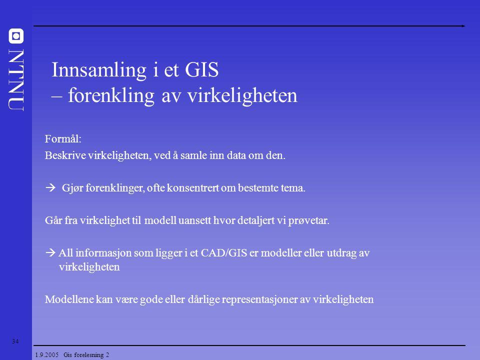 34 1.9.2005 Gis forelesning 2 Innsamling i et GIS – forenkling av virkeligheten Formål: Beskrive virkeligheten, ved å samle inn data om den.  Gjør fo