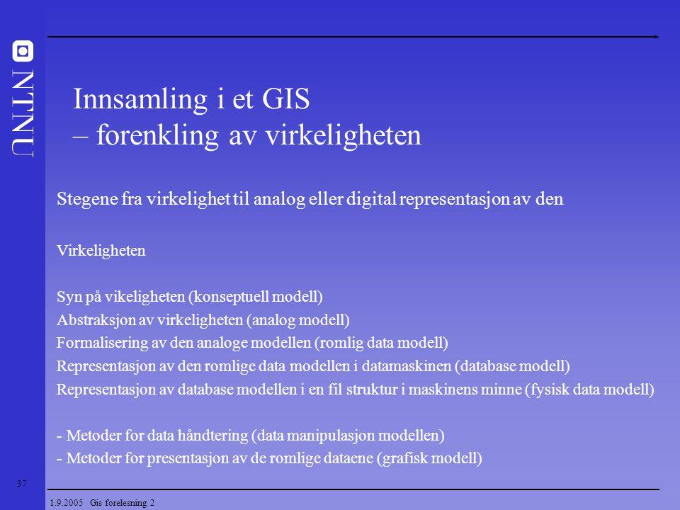 37 1.9.2005 Gis forelesning 2 Stegene fra virkelighet til analog eller digital representasjon av den Virkeligheten Syn på vikeligheten (konseptuell mo