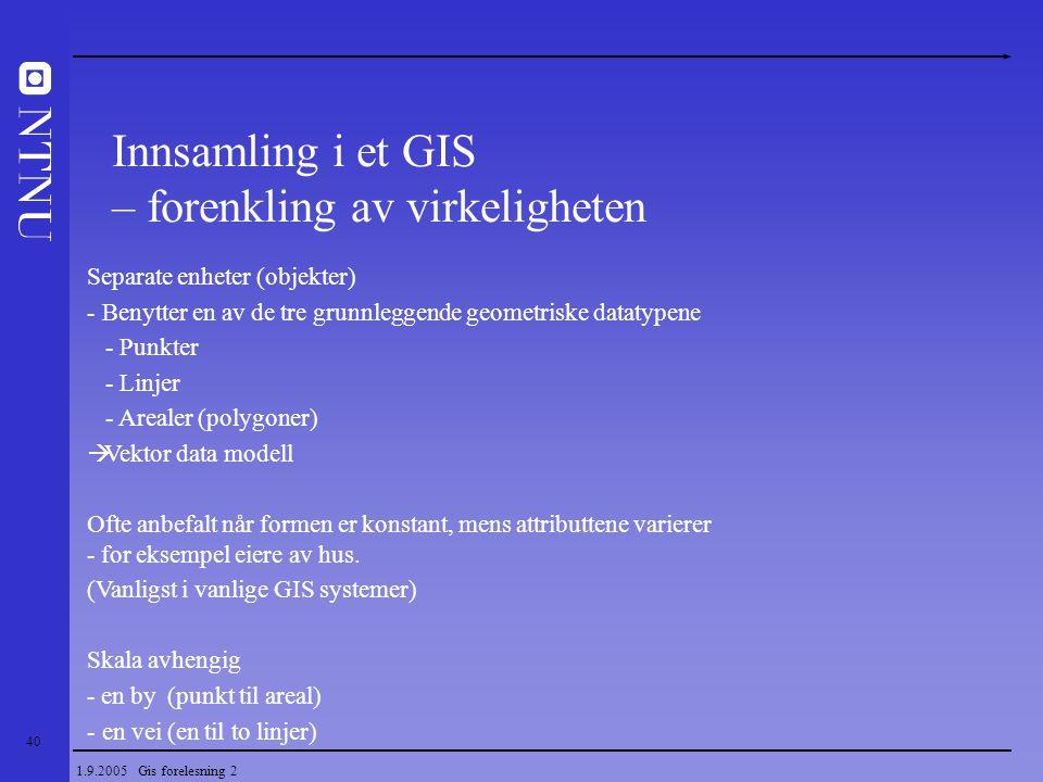 40 1.9.2005 Gis forelesning 2 Separate enheter (objekter) - Benytter en av de tre grunnleggende geometriske datatypene - Punkter - Linjer - Arealer (p