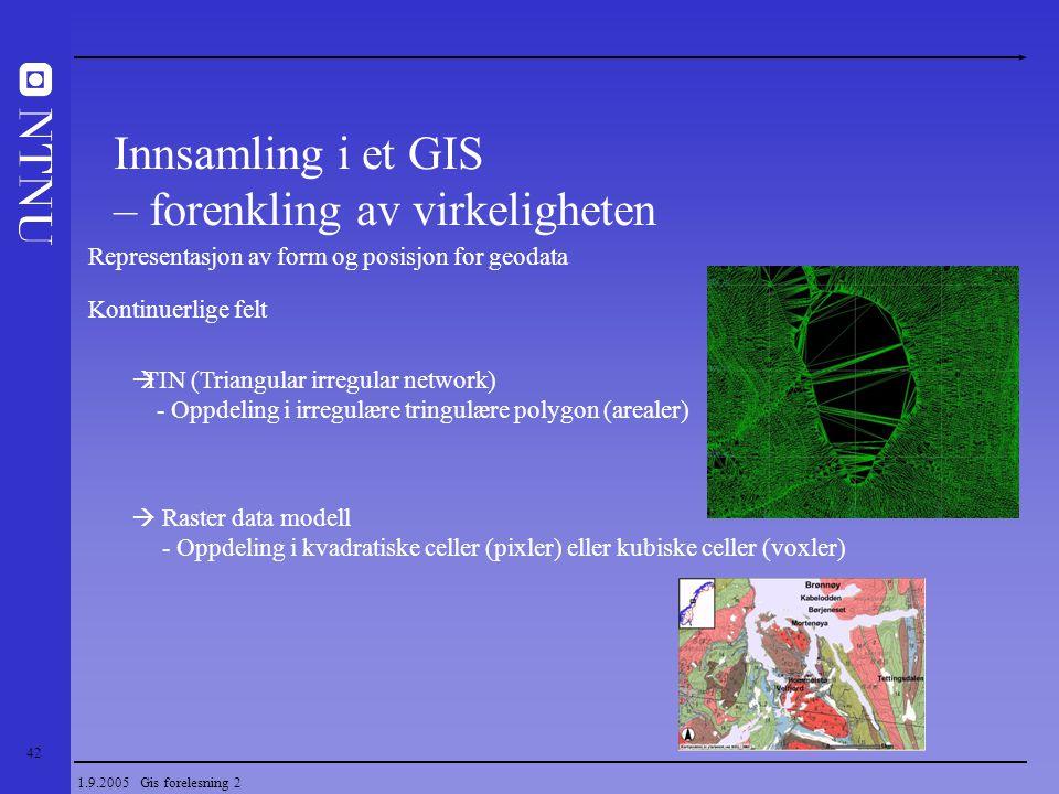 42 1.9.2005 Gis forelesning 2 Representasjon av form og posisjon for geodata Kontinuerlige felt  TIN (Triangular irregular network) - Oppdeling i irr