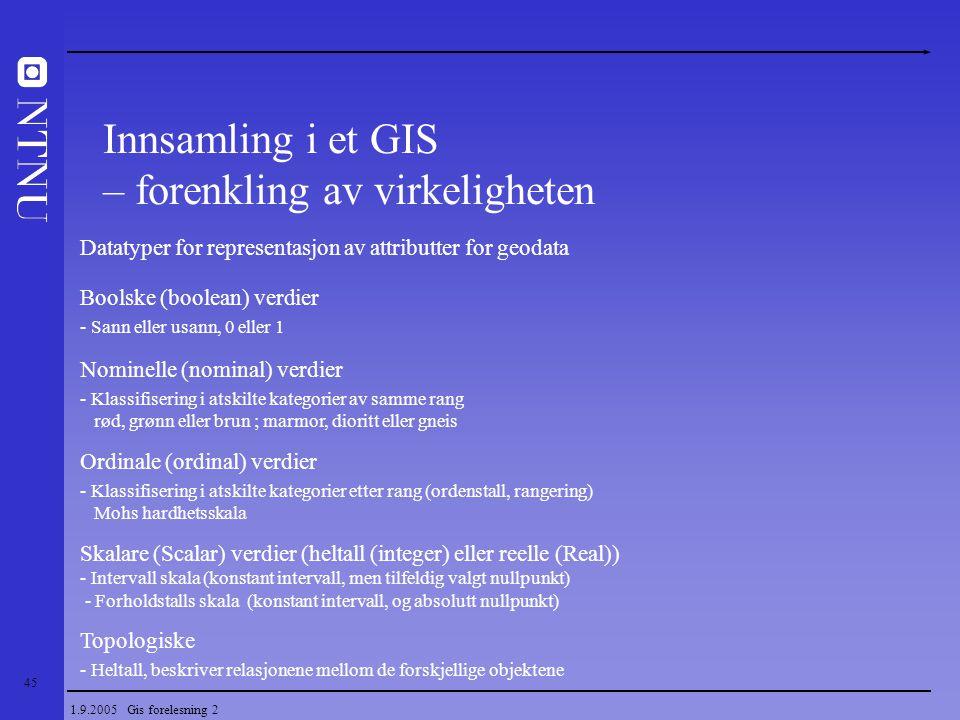 45 1.9.2005 Gis forelesning 2 Datatyper for representasjon av attributter for geodata Boolske (boolean) verdier - Sann eller usann, 0 eller 1 Nominell