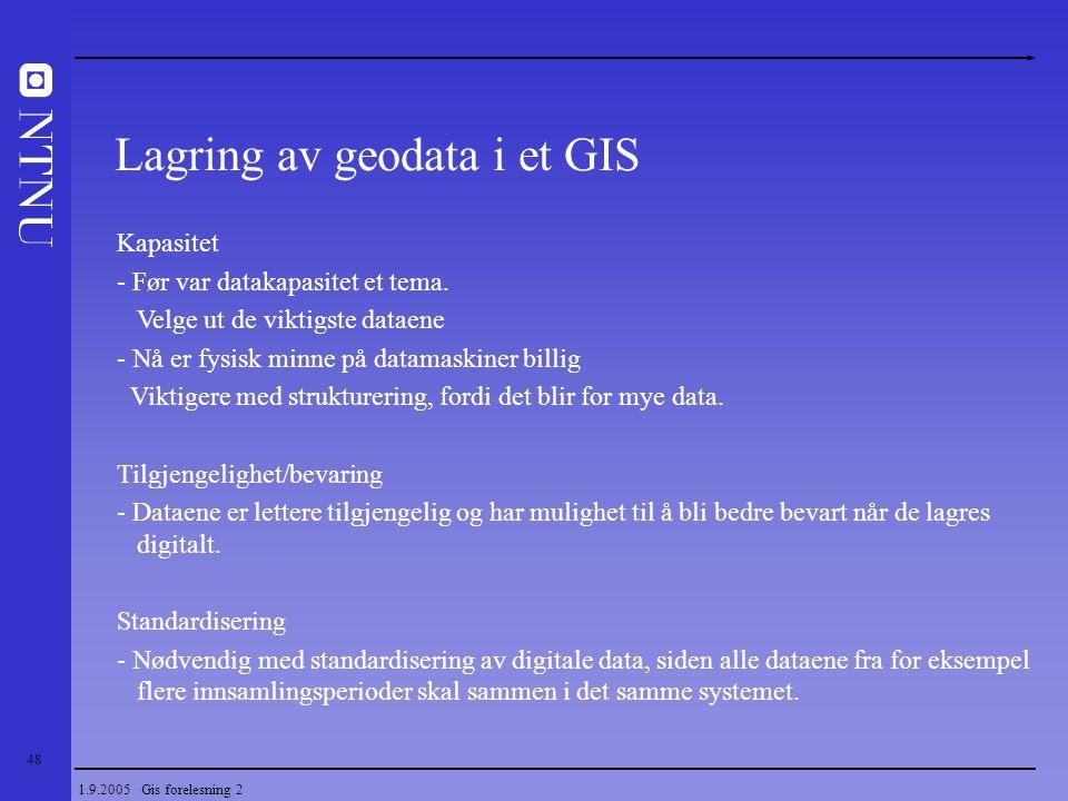 48 1.9.2005 Gis forelesning 2 Lagring av geodata i et GIS Kapasitet - Før var datakapasitet et tema. Velge ut de viktigste dataene - Nå er fysisk minn