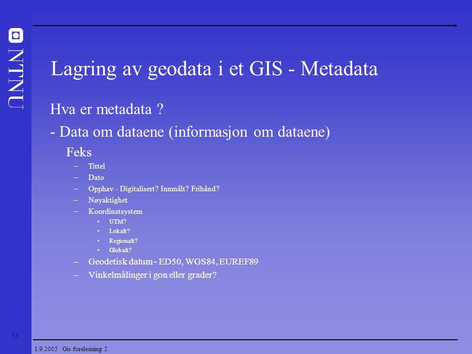 53 1.9.2005 Gis forelesning 2 Hva er metadata ? - Data om dataene (informasjon om dataene) Feks –Tittel –Dato –Opphav - Digitalisert? Innmålt? Frihånd