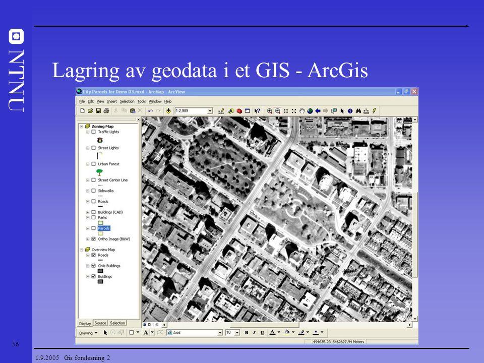 56 1.9.2005 Gis forelesning 2 Lagring av geodata i et GIS - ArcGis