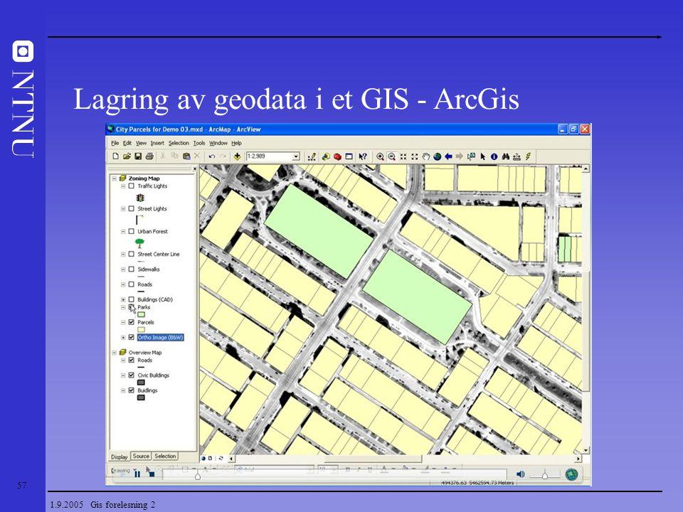 57 1.9.2005 Gis forelesning 2 Lagring av geodata i et GIS - ArcGis