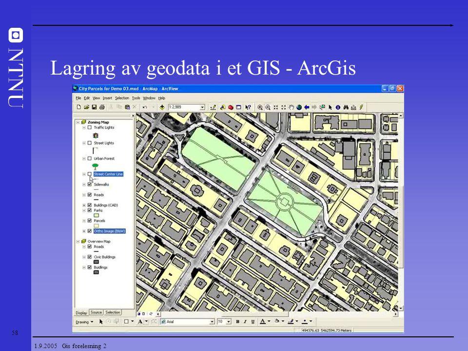 58 1.9.2005 Gis forelesning 2 Lagring av geodata i et GIS - ArcGis