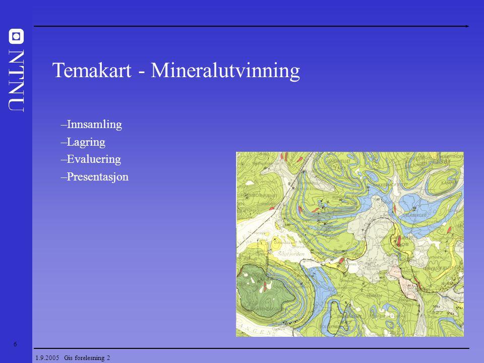 7 1.9.2005 Gis forelesning 2 – Definisjon av GIS til bruk i mineralutvinning Geomatikk – Kartfremstilling - GIS – Basiskart Kart i Norge Referanserammer – Tematiske kart og modeller Innsamling av geodata – Typer geodata i mineralutvinning – Datafangst og dataoverføring Lagring av geodata – Metadata, modeller av virkeligheten, Prosedyrer for behandling av geodata Evaluering av geodata – Datakvalitet / verifisering – Romlig analyse (form og variasjon) Presentasjon av geodata – Visuelle variable – Oppsummering Innhold i faget
