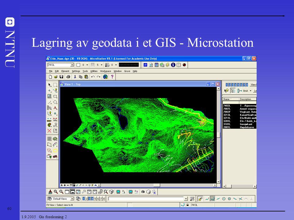 60 1.9.2005 Gis forelesning 2 Lagring av geodata i et GIS - Microstation