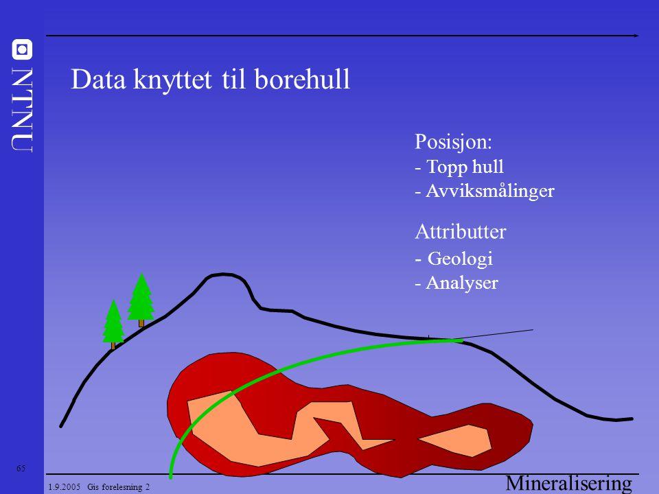 65 1.9.2005 Gis forelesning 2 Mineralisering Posisjon: - Topp hull - Avviksmålinger Attributter - Geologi - Analyser Data knyttet til borehull