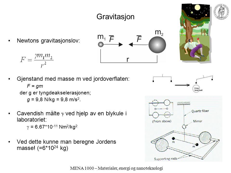 MENA 1000 – Materialer, energi og nanoteknologi Gravitasjon Newtons gravitasjonslov: Gjenstand med masse m ved jordoverflaten: F = gm der g er tyngdea