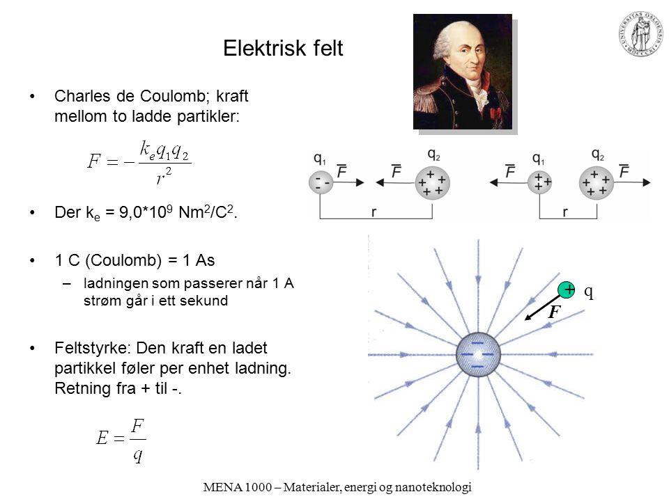 MENA 1000 – Materialer, energi og nanoteknologi Elektrisk felt Charles de Coulomb; kraft mellom to ladde partikler: Der k e = 9,0*10 9 Nm 2 /C 2. 1 C