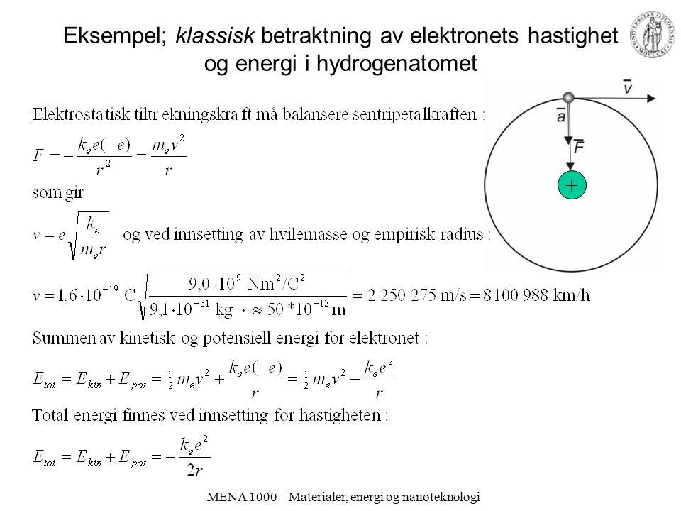 MENA 1000 – Materialer, energi og nanoteknologi Eksempel; klassisk betraktning av elektronets hastighet og energi i hydrogenatomet +