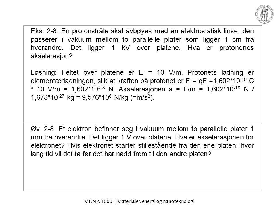 MENA 1000 – Materialer, energi og nanoteknologi Eks. 2-8. En protonstråle skal avbøyes med en elektrostatisk linse; den passerer i vakuum mellom to pa