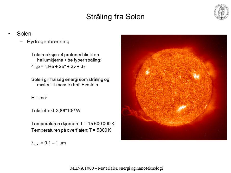 MENA 1000 – Materialer, energi og nanoteknologi Stråling fra Solen Solen –Hydrogenbrenning Totalreaksjon: 4 protoner blir til en heliumkjerne + tre ty