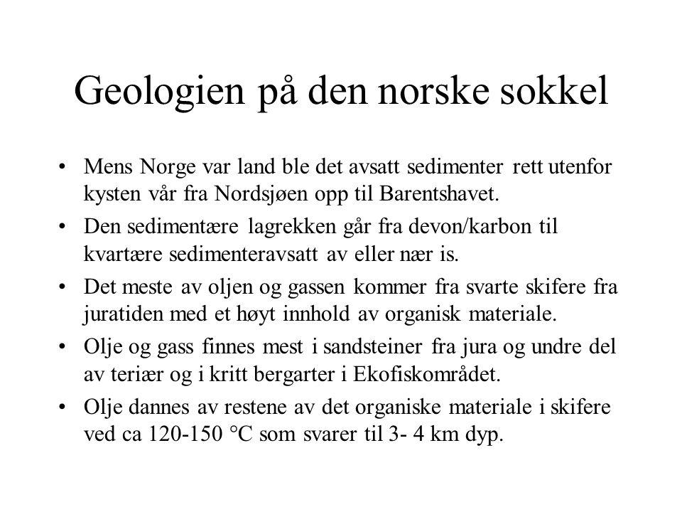 Geologien på den norske sokkel Mens Norge var land ble det avsatt sedimenter rett utenfor kysten vår fra Nordsjøen opp til Barentshavet. Den sedimentæ