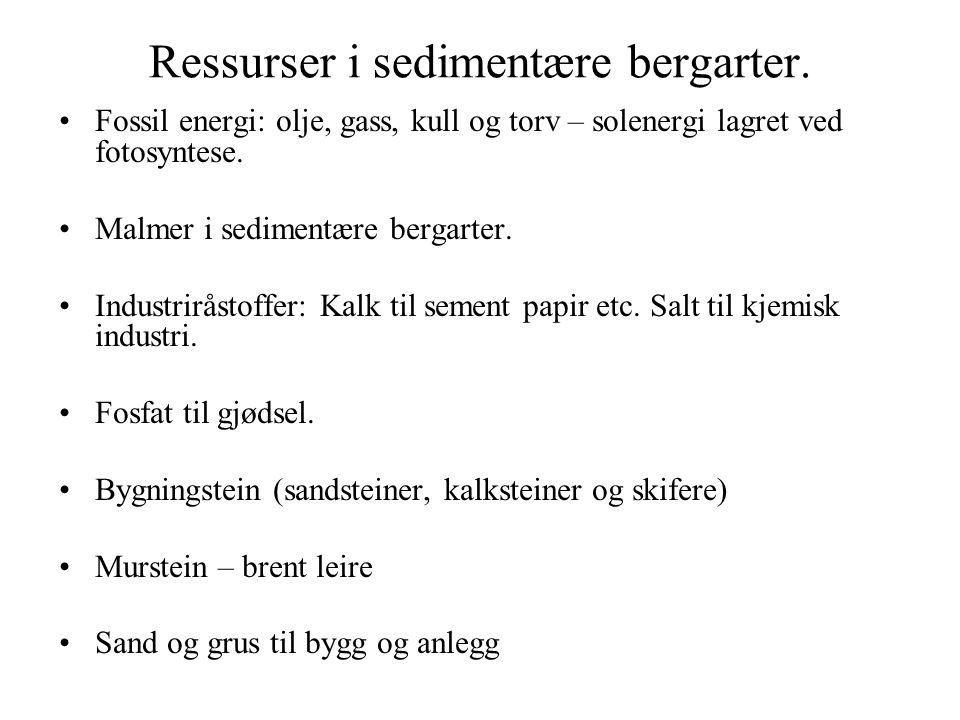 Ressurser i sedimentære bergarter. Fossil energi: olje, gass, kull og torv – solenergi lagret ved fotosyntese. Malmer i sedimentære bergarter. Industr