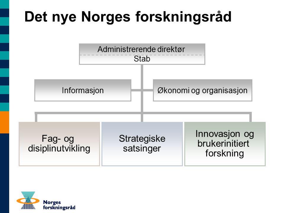 Det nye Norges forskningsråd Økonomi og organisasjonInformasjon Fag- og disiplinutvikling Innovasjon og brukerinitiert forskning Strategiske satsinger Administrerende direktør Stab