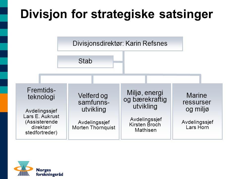 Divisjon for strategiske satsinger Fremtids- teknologi Avdelingssjef Lars E.