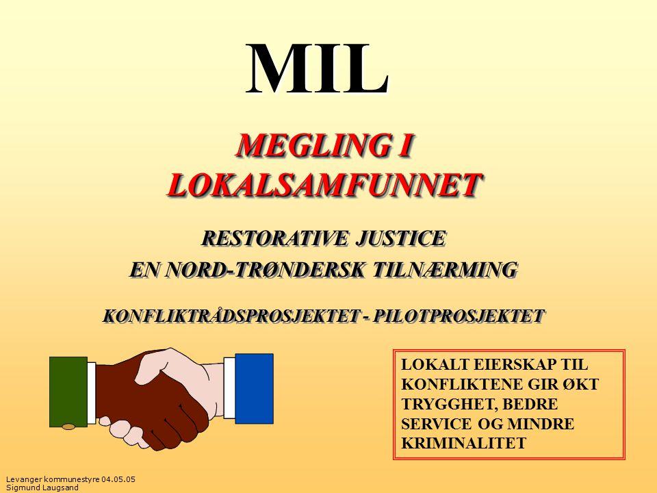 Levanger kommunestyre 04.05.05 Sigmund Laugsand MIL MEGLING I LOKALSAMFUNNET RESTORATIVE JUSTICE EN NORD-TRØNDERSK TILNÆRMING KONFLIKTRÅDSPROSJEKTET - PILOTPROSJEKTET MEGLING I LOKALSAMFUNNET RESTORATIVE JUSTICE EN NORD-TRØNDERSK TILNÆRMING KONFLIKTRÅDSPROSJEKTET - PILOTPROSJEKTET LOKALT EIERSKAP TIL KONFLIKTENE GIR ØKT TRYGGHET, BEDRE SERVICE OG MINDRE KRIMINALITET