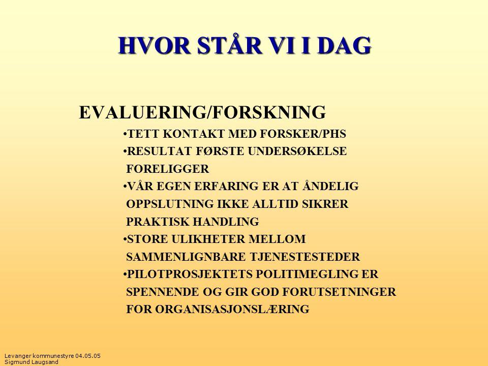 Levanger kommunestyre 04.05.05 Sigmund Laugsand HVOR STÅR VI I DAG EVALUERING/FORSKNING TETT KONTAKT MED FORSKER/PHS RESULTAT FØRSTE UNDERSØKELSE FORE