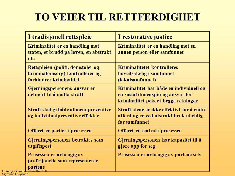 Levanger kommunestyre 04.05.05 Sigmund Laugsand TO VEIER TIL RETTFERDIGHET I tradisjonell rettspleieI restorative justice Kriminalitet er en handling