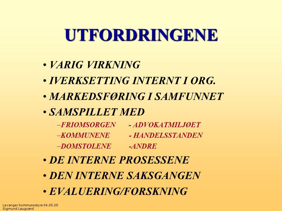 UTFORDRINGENE VARIG VIRKNING IVERKSETTING INTERNT I ORG.