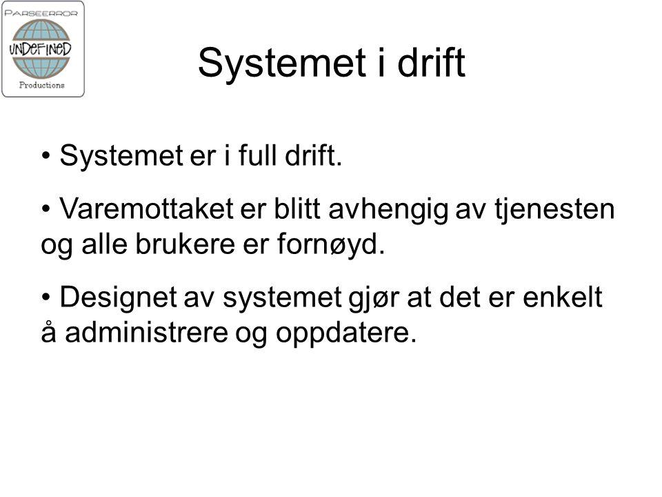 Systemet i drift Systemet er i full drift.