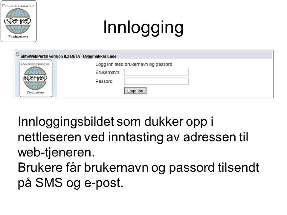 Innlogging Innloggingsbildet som dukker opp i nettleseren ved inntasting av adressen til web-tjeneren.