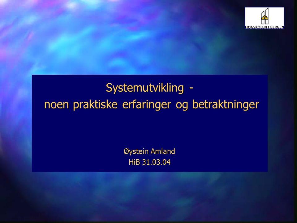 11 Systemutvikling HiB 31.03.04 Prosesser forts.
