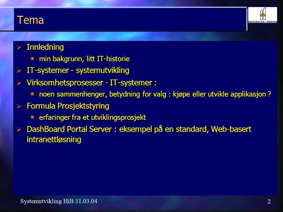 2 Systemutvikling HiB 31.03.04 Tema  Innledning min bakgrunn, litt IT-historie min bakgrunn, litt IT-historie  IT-systemer - systemutvikling  Virksomhetsprosesser - IT-systemer : noen sammenhenger, betydning for valg : kjøpe eller utvikle applikasjon .