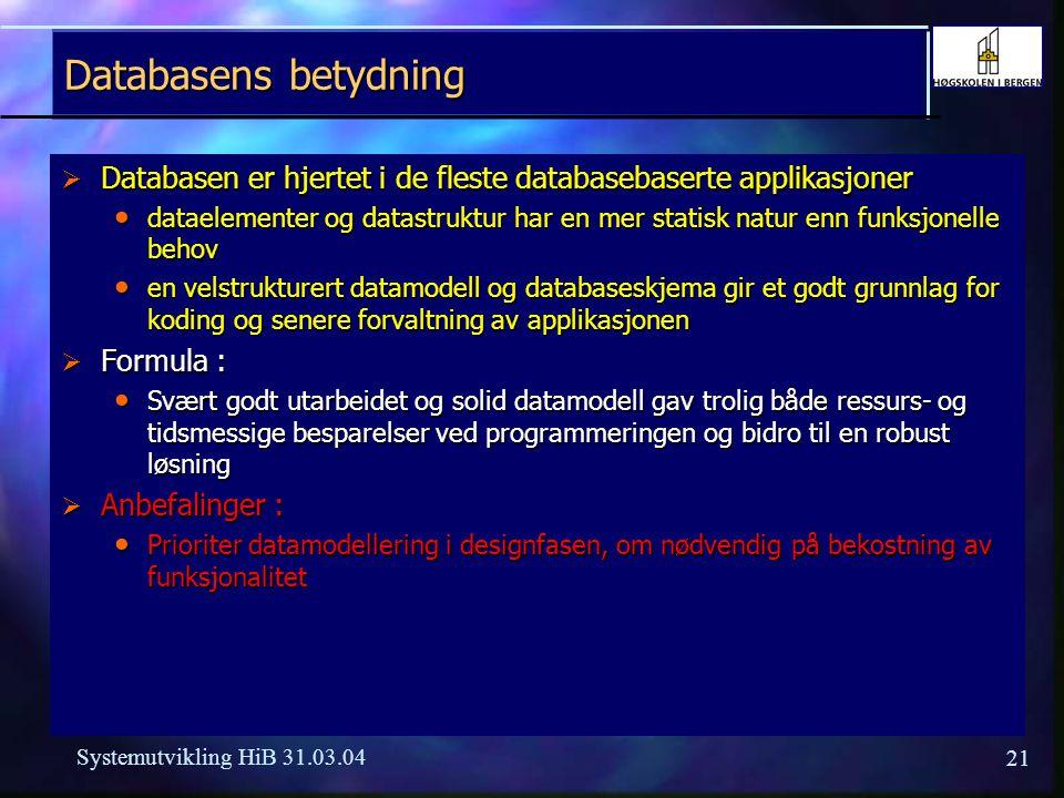 20 Systemutvikling HiB 31.03.04 Dokumentasjon  Brukerdokumentasjon - ja med fokus på lett tilgjengelig on-line hjelp med fokus på lett tilgjengelig o